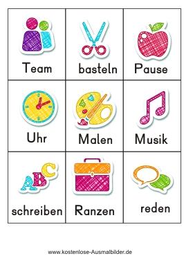 Piktogramm Begriffe Schule