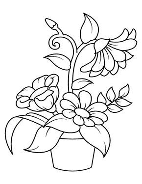 Ausmalbild Blumen Im Topf Zum Gratis Ausdrucken