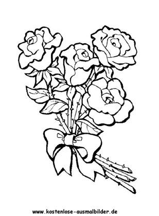 Ausmalbild Rosen 5 Zum Kostenlosen Ausdrucken