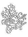 Ausmalbilder Blumen im Schubkarren