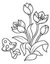 Ausmalbilder Blumen und Pilz