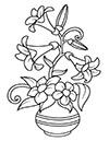 Ausmalbilder Lilien in Vase