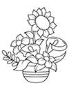 Ausmalbilder Sonnenblume im Topf