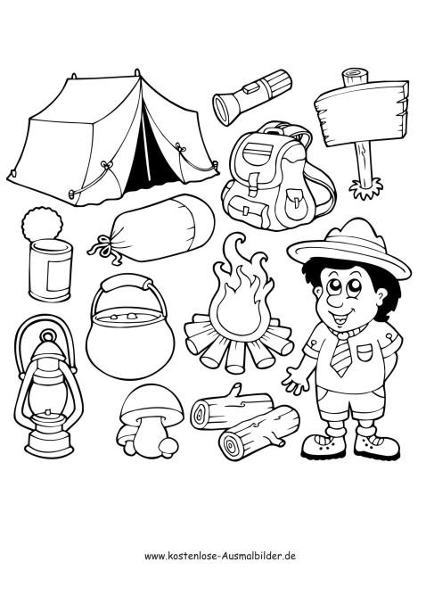 Camping Ausflug - Camping ausmalen | Malvorlagen