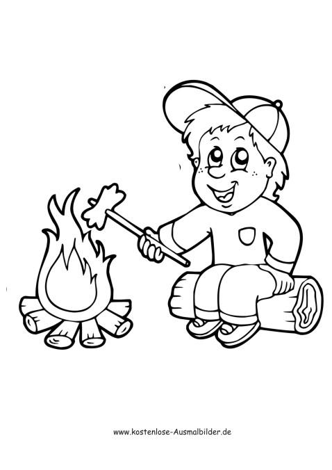 Junge am Lagerfeuer - Camping ausmalen | Malvorlagen