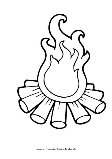 Lagerfeuer - Camping ausmalen | Malvorlagen