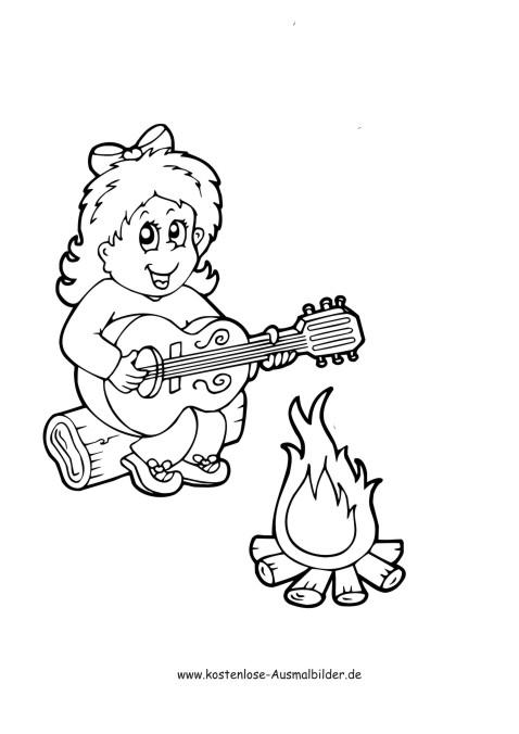 Maedchen singt am Feuer - Camping ausmalen   Malvorlagen