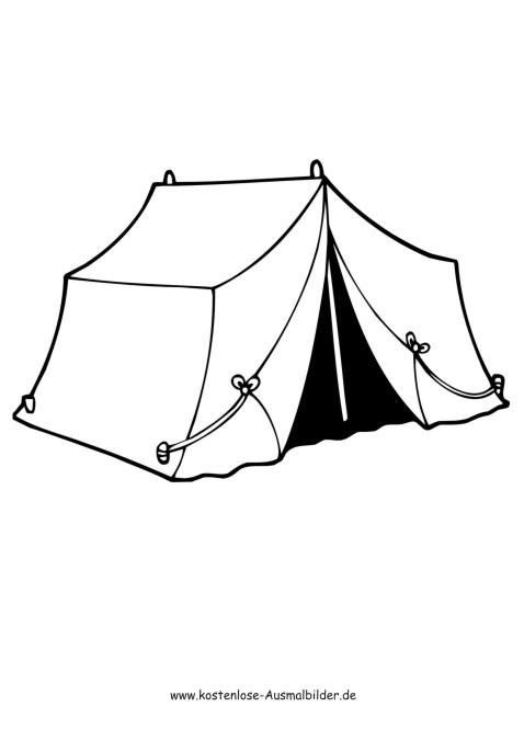 Zelt - Camping ausmalen | Malvorlagen