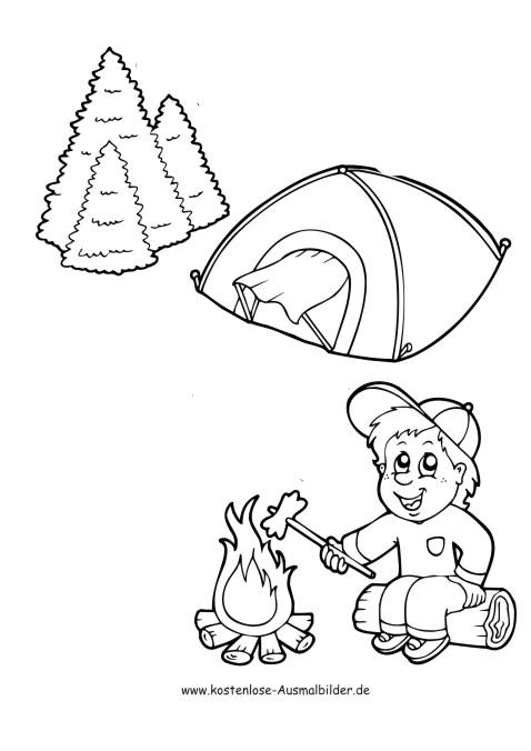 Junge mit Zelt am Feuer - Camping ausmalen | Malvorlagen