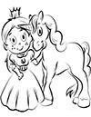 Ausmalbild Einhorn mit Prinzessin
