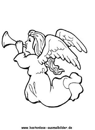 Ausmalbild fliegender Engel zum ausmalen