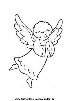 Ausmalbild süsser Engel zum ausmalen
