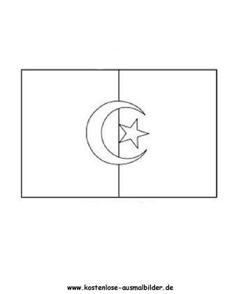 Algerien - Fahnen ausmalen | Malvorlagen