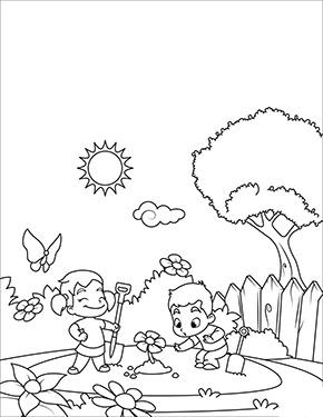 Ausmalbild Fruhling Kinder Spielen Im Garten Ausdrucken