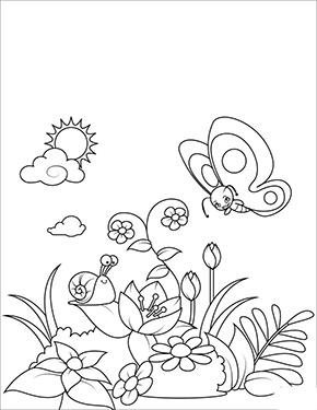Ausmalbild Fruhling Schmetterling Und Blumen Ausdrucken