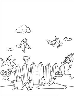 Ausmalbild Fruhling Vogel Im Garten Ausdrucken