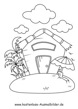 Ausmalbild Haus Sonnenschirm