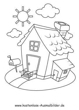 Ausmalbild Haus mit Briefkasten