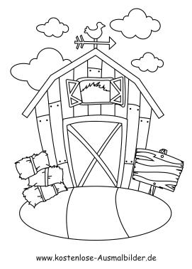 Ausmalbild Haus mit Wolken