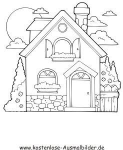 Ausmalbilder Malvorlagen Häuser Haus
