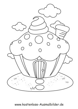 Ausmalbild Muffin Haus