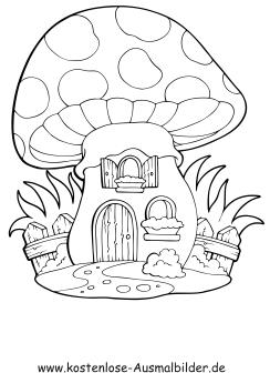 Ausmalbild Pilzhaus