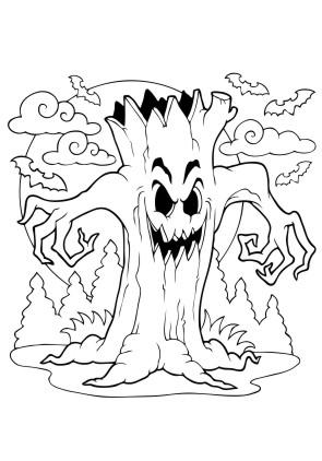 Ausmalbild Halloween Baum
