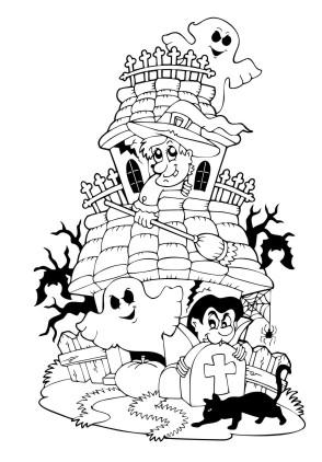 Ausmalbilder Malvorlagen Gruselig Halloween Burg