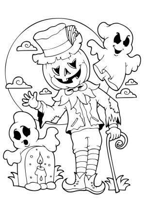 ausmalbilder kürbis mann - halloween zum ausmalen