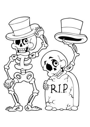 Ausmalbilder Skelett - Halloween zum ausmalen | Malvorlagen Gruselig