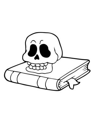 Ausmalbild Totenkopf auf Buch