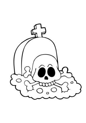 Ausmalbilder Totenkopf auf Grabstein - Halloween zum ausmalen ...