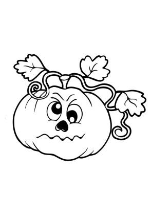 ausmalbilder halloween | kürbis mit gewächs ausmalbild