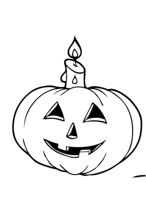 Ausmalbild Kürbis mit Kerze