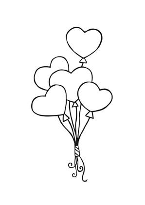 Luftballon Herzen - Herzen ausmalen | Malvorlagen