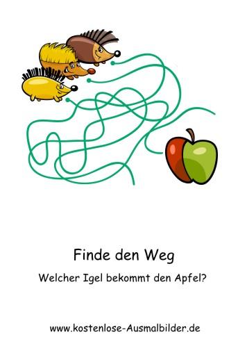 Finde den Weg | Welcher Igel bekommt den Apfel - Lernspiele ...