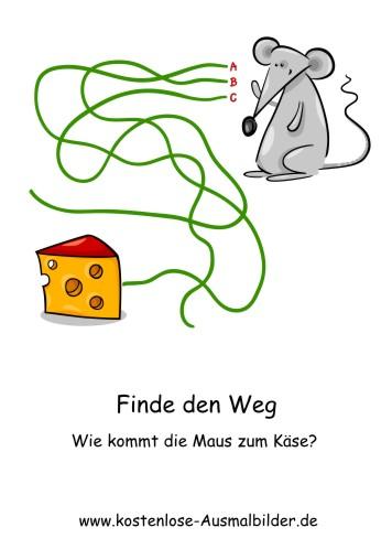 Finde den Weg | Wie kommt die Maus zum Kaese - Lernspiele Kindergarten ...