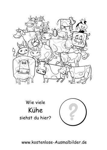 Z hlen lernen wie viele kuehe lernspiele kindergarten ausmalen malvorlagen - Menschen malen lernen kindergarten ...
