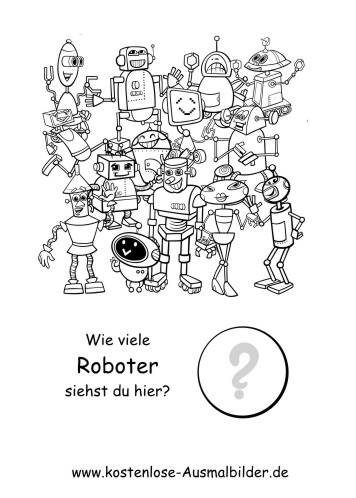 Ausmalbild Wie viele Roboter