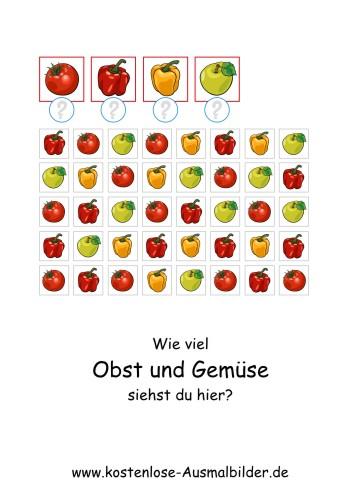 Ausmalbild Wie viel Obst und Gemüse