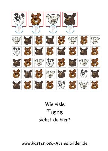 Ausmalbild Wie viele Tiere 1