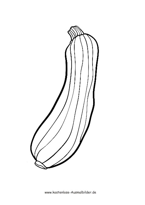 Ausmalbilder Zucchini - Lebensmittel zum ausmalen | Malvorlagen Gemuese