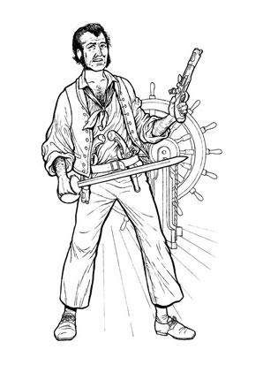Ausmalbilder Pirat Steuermann