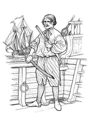 Ausmalbilder Pirat an Bord