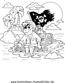 ausmalbilder pirat auf floss - piraten zum ausmalen