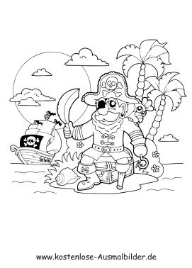 Ausmalbilder Pirat auf Insel - Piraten zum ausmalen   Malvorlagen ...