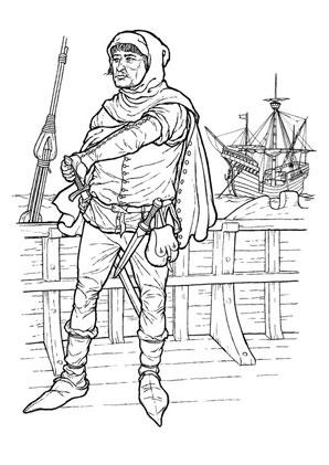 Ausmalbilder Pirat auf seinem Schiff