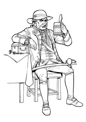 Ausmalbilder Pirat beim Trinken