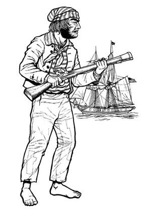 Ausmalbilder Pirat mit Gewehr