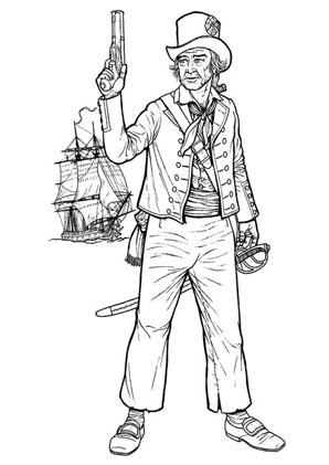 Ausmalbilder Pirat mit Pistole